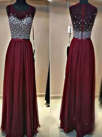 Long  prom dress, A-line Rhinestones Chiffon 2017 Prom Dress Evening Dress MK0522