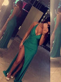 prom dresses, A-line Spaghetti Straps Floor-length Elastic Woven Satin Prom Dress Evening Dress MK223