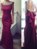 prom dresses, Sheath/Column Bateau Floor-length Satin Prom Dress/Evening Dress #MK0541