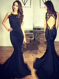 Trumpet/Mermaid Scoop Floor-length Satin Prom Dress/Evening Dress #MK0545
