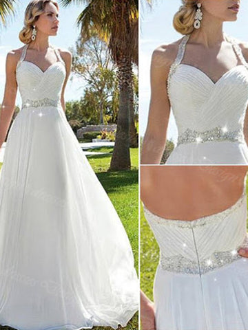 beautiful  wedding dresses, A-line Halter Floor-length Chiffon Wedding Dress Bride Bridal Dress #MK054