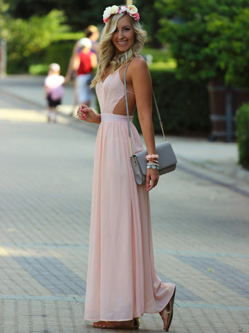 pretty prom dresses, A-line Spaghetti Straps Floor-length Chiffon Prom Dress/Evening Dress #MK056