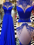 A-line High Neck Floor-length Chiffon Long Prom Dress/Evening Dress MK0586