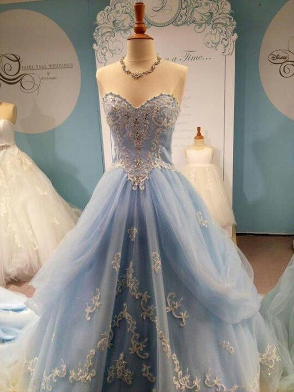 beautiful prom dresses, A-line Sweetheart Floor-length Tulle Prom Dress/Evening Dress #MK058