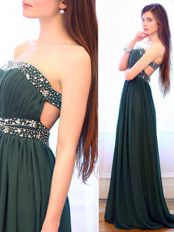 2017 prom dresses, A-line Strapless Floor-length Chiffon Prom Dress/Evening Dress #MK063