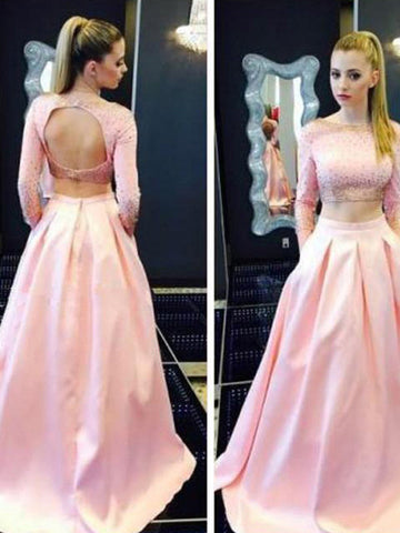 Outfit prom dresses, A-line Bateau Floor-length Satin Prom Dress Evening Dress MK066