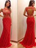 sparkly prom dresses, Sheath Column Scoop Floor-length Tulle Prom Dress Evening Dress MK067