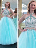 classy prom dresses, A-line Halter Floor-length Tulle Prom Dress/Evening Dress #MK068