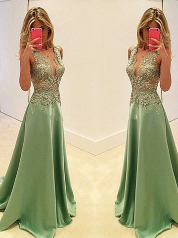 elegant prom dresses, A-line Straps Floor-length Satin Prom Dress Evening Dress MK069