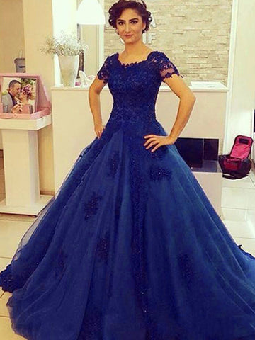 royal blue prom dresses, A-line Scoop Floor-length Tulle Prom Dress Evening Dress MK071