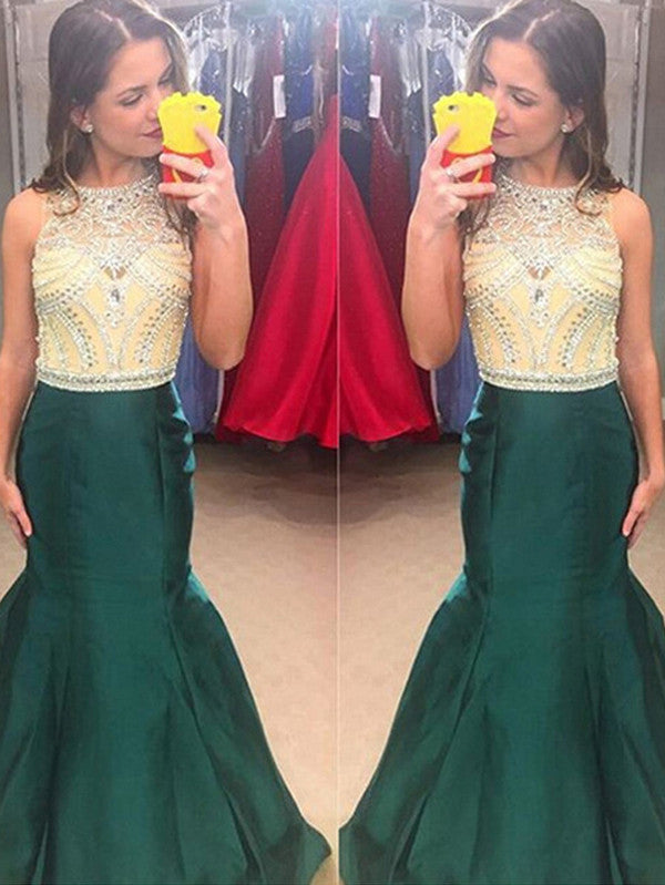 cheap prom dresses, Trumpet Mermaid Scoop Floor-length Taffeta Prom Dress Evening Dress MK072
