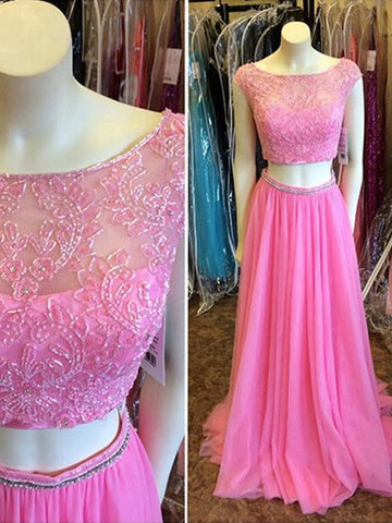 Fushia prom dresses, A-line Bateau Floor-length Chiffon Prom Dress/Evening Dress #MK073