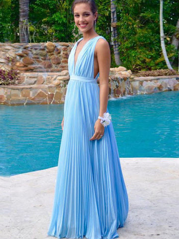 Chiffon prom dresses, A-line Straps Floor-length Chiffon Prom Dress/Evening Dress #MK077