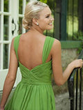 short prom dresses, A-line Straps Knee-length Chiffon Homedress/Short Prom #MK079