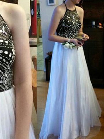 halter prom dresses, A-line Halter Floor-length Chiffon Prom Dress/Evening Dress #MK080