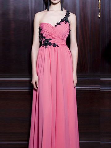 chiffon prom dresses, A-line One Shoulder Floor-length Chiffon Prom Dress/Evening Dress #MK082