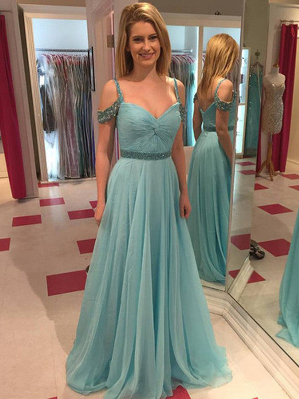 teal prom dresses, A-line Spaghetti Straps Floor-length Tulle Prom Dress Evening Dress MK089