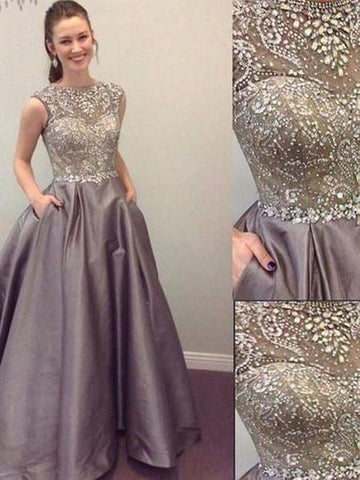 A-line Bateau Floor-length Taffeta Prom Dress/Evening Dress #MK0966