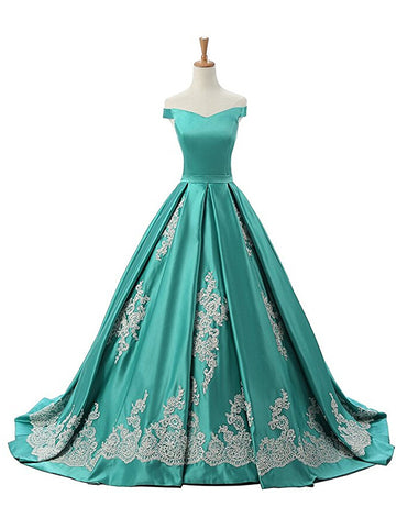 Charming A-line Off-the-shoulder Green Prom Dress Evening Drsess MK0988