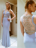 prom dresses long, Sheath Column V-neck Floor-length Chiffon Prom Dress Evening Dress MK106