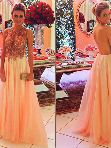 prom dresses long, A-line Scoop Floor-length Chiffon Prom Dress Evening Dress MK126