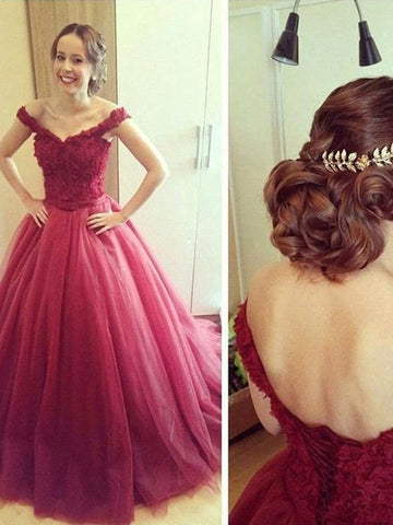 off-the Shoulder prom dresses, A-line Off-the-shoulder Floor-length Tulle Prom Dress Evening Dress MK132