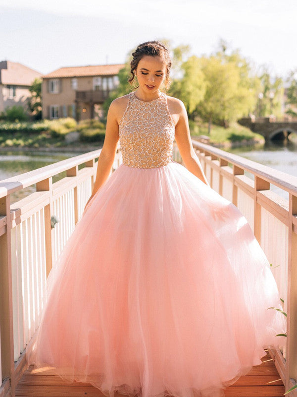 6eb23dee7ca Pretty A-line Scoop Floor-length Tulle Prom Dress Evening Dress long ...