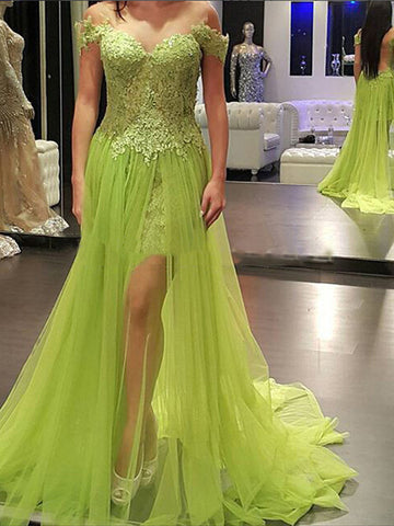 mint prom dresses, Sheath Column Off-the-shoulder Asymmetrical Tulle Prom Dress Evening Dress MK250