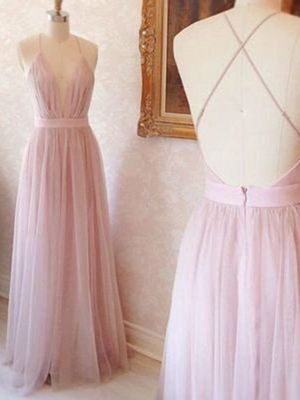 Spaghetti Straps prom dresses, A-line V-neck Long Pink Prom Dress with Criss Cross Back Prom Dress/Evening Dress #MK092