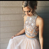 Two Piece Prom Dress, A-line High Neck Prom Dress/Evening Dress with Open Back SKY648