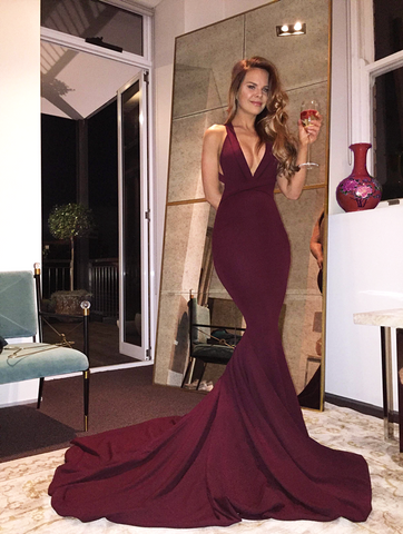 Gorgeous prom dress, Burgundy Mermaid V-neck Long Prom Dress/Evening Dress with Train