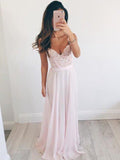 Baby Pink Princess A-line V-neck Chiffon Long Prom Dress Evening Dress MK503