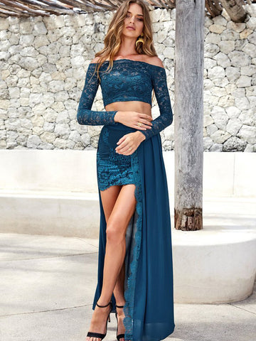 2017 Two Piece prom dress, Outfit Long Sleeves Lace Prom Dress Evening Dress MK514