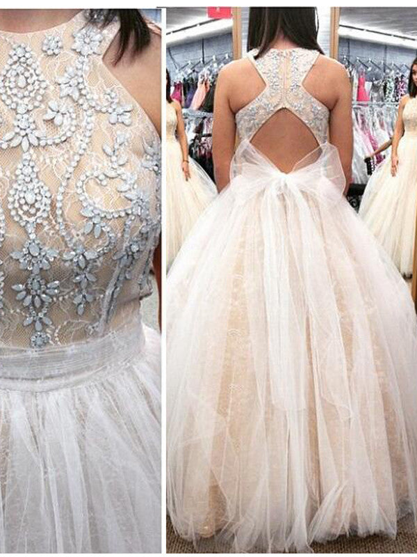 White Long Prom Dress, 2017 A-line Long Open Back Prom Dress/Evening Dress MK516