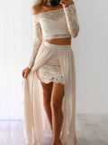 Two Piece Prom Dress,  Sheath Long Sleeves Beige Long Outfit Dress Evening Dress MK517