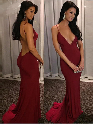 Deep V-neck Prom Dress, Sexy Spaghetti Straps Mermaid Long Prom Dress with Open Back MK520