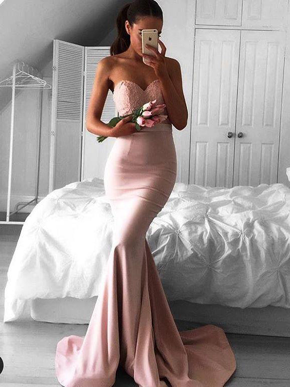 2017 Long Prom Dress Strapless Mermaid Prom Dress/Evening Dress MK529