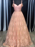 Lace prom dress, 2017 Long Prom Dress A-line Beading Prom Dress/Evening Dress MK529