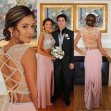 Two Piece Evening Dress, Sheath Prom Dress Long Dress With a Slit MK537