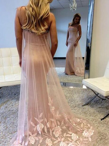 Pink Prom Dress, Beautiful Strapless Sheath Long Prom Dress/Evening Dress MK538