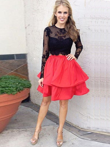 Two Piece Homecoming Dress, Long Sleeves Homecoming Dress, Black Lace Prom Dress, Red Skirt Black Top Homecoming Short Prom Dress  MK539