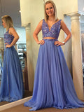 Outfit Prom Dress, A-line Chiffon Beading Long Light Blue Prom Dress Evening Dress MK542
