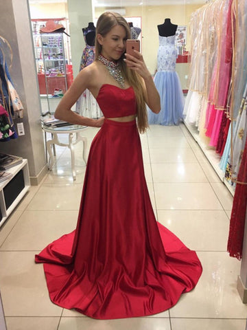 Two Piece Prom Dress, A-line Red Rhinestones Long Prom Dress Evening Dress MK550