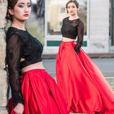 Two Piece Prom Dresses , Long SleeveProm Dress, Red Prom Dress, Black Lace Prom Dress Mk553