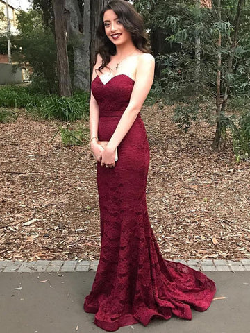 Beautiful evening dress,Strapless Mermaid Long Burgundy Lace Prom Dress Bridesmaid Dress MK554