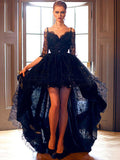 High Low Prom Dress, Black Lace Evening Dress,2017 Prom Dress,Evening Dress Long MK555