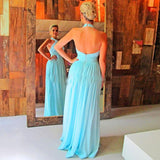 Sexy Prom Dress, Light Blue Formal Dress, Long Halter Backless Evening Dress Party Dress MK557