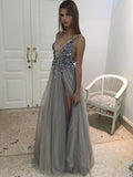 Sexy Prom Dress, A-line V-neck Evening Dress Grey Prom Long Dress with Side Slit MK561