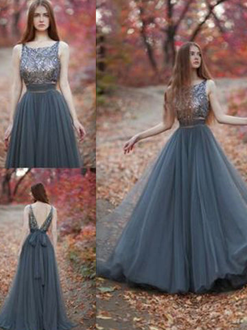 Gorgeous Evening Dress, A-line Beading Scoop Tulle Prom Dress Formal Evening Dress MK565