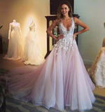 V-neck Prom Dress, A-line Tulle Long Prom Dress Evening Dress MK566